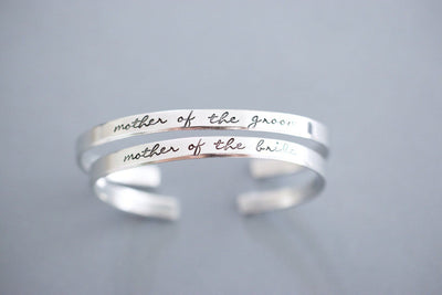 Mother of the Bride Mother of the Groom Cuff Bracelet Set