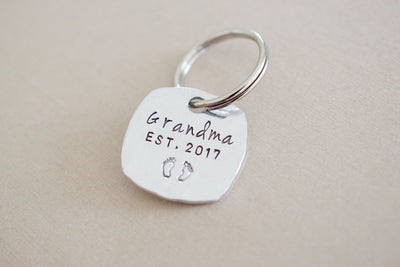 Grandparent Keychain Set | Hand Stamped Keychain, Grandma
