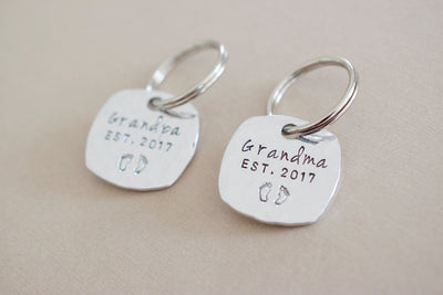 Grandparent Keychain Set | Hand Stamped Keychain