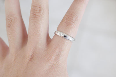 Floral Sterling Band Ring, zoom out on finger