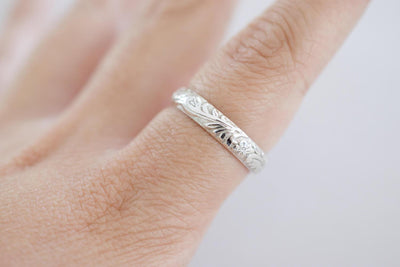 Floral Sterling Band Ring, zoom in on finger