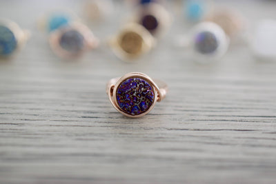 Druzy Ring | Wire Wrapped Ring, On Table
