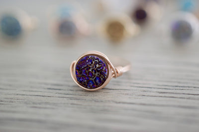 Druzy Ring | Wire Wrapped Ring, Front View