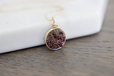 Druzy Necklace | Gemstone Necklace, Front View