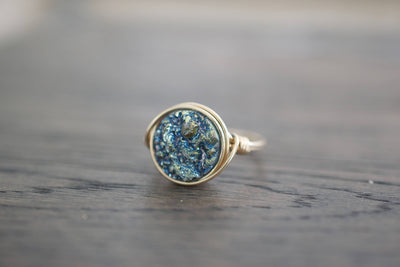 Teal Waters Druzy Ring