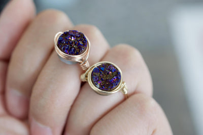 Druzy Ring | Wire Wrapped Ring, Close Up Of Hand