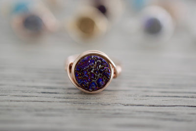 Druzy Ring | Wire Wrapped Ring, Close Up
