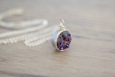 Druzy Necklace | Gemstone Necklace, Side View