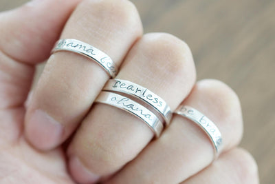 Bride Hand Stamped Ring, on multiple fingers