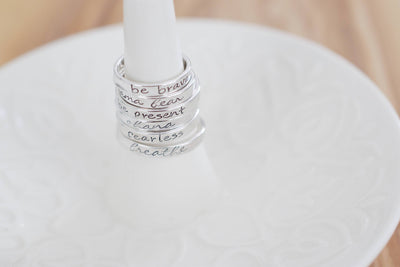 Faith Ring | Hand Stamped Ring, On Ring Dish