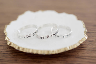 Faith Ring | Hand Stamped Ring, In Dish