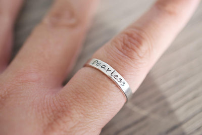Bride Hand Stamped Ring, on finger