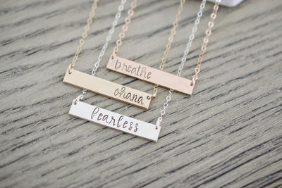 Breathe Bar Necklace, displayed set of 3