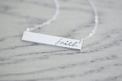 Faith Necklace | Hand Stamped Necklace, side view