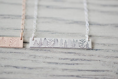 Forest Bar Necklace, close up silver
