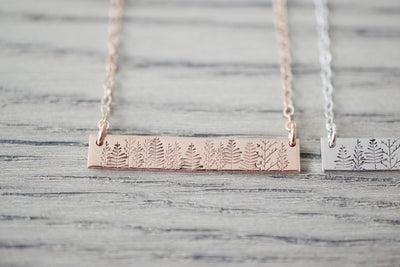 Forest Bar Necklace, close up rose gold