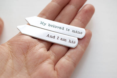 My beloved is Mine And I am His Collar Stays | Hand Stamped Accessories, Straight View