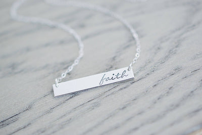 Faith Necklace | Hand Stamped Necklace, Detail View