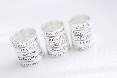 Bride Hand Stamped Ring, Three stacks of rings