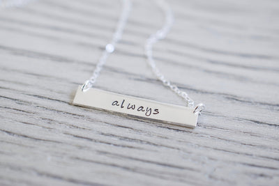 Always Bar Necklace | Sentimental Jewelry, left view