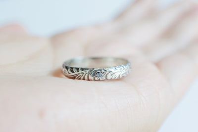 Floral Ring, shown on hand