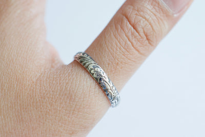 Floral Band Ring Darkened, on thumb