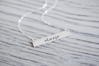 Always Bar Necklace | Sentimental Jewelry, close up