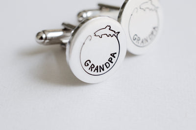 Fishing Cufflinks, close up