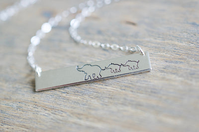Elephant Mama and Baby Necklace