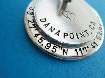Latitude and Longitude Keychain, close up