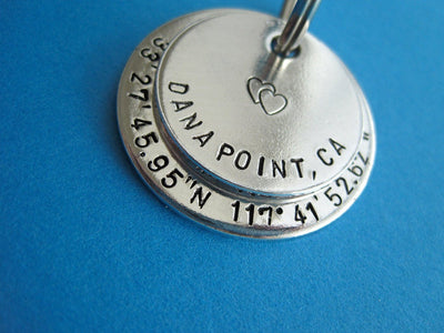 Latitude and Longitude Keychain, zoomed out