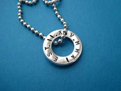Roman Numerals Washer Necklace