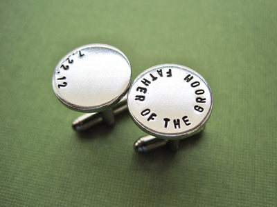 Father of the Groom Cufflinks, green background