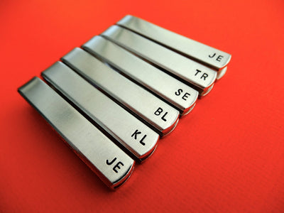 Set of 6 Personalized Tie Clips