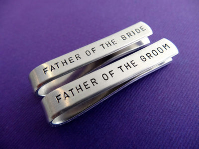 Tie Clip Wedding Set, close up