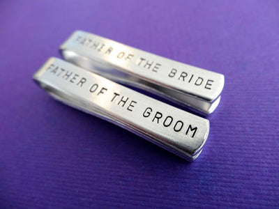 Tie Clip Wedding Set, purple background