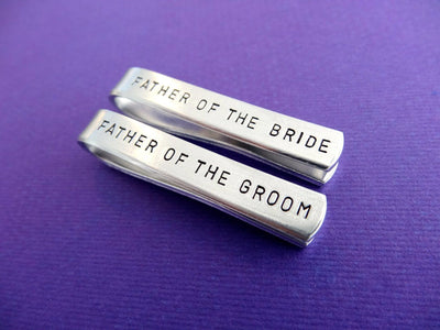 Tie Clip Wedding Set, view from above