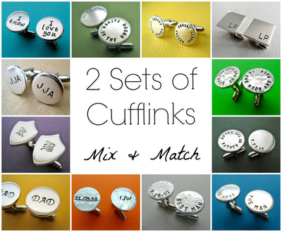 2 Sets of Personalized Cufflinks