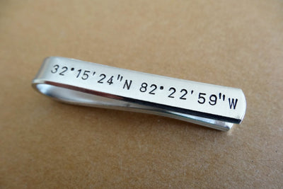 Coordinates Tie Clip, close up