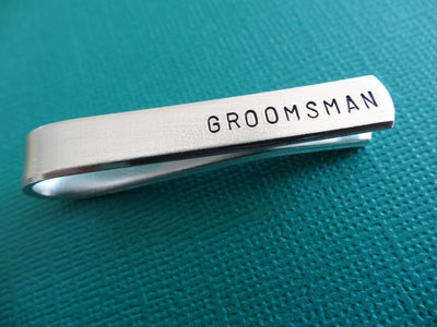 Groomsman Tie Clip | Hand Stamped Tie Bar, Angle View