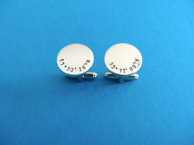 Coordinates Cufflinks | Men's Accessories, on a blue background