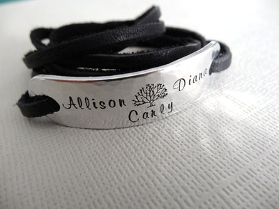 Family Tree Bracelet | Hand Stamped Bracelet, Close Up