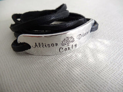 Family Tree Bracelet | Hand Stamped Bracelet, Side View