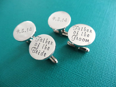 Wedding Cufflinks, Teal Background