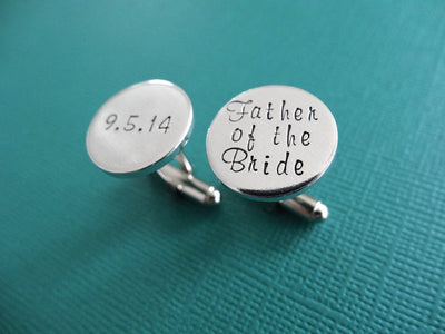 Father of the Bride Cufflinks | Hand Stamped Cuff Links, teal background