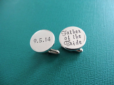 Father of the Bride Cufflinks | Hand Stamped Cuff Links, view from above