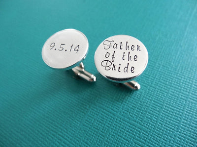 Father of the Bride Cufflinks | Hand Stamped Cuff Links, close up