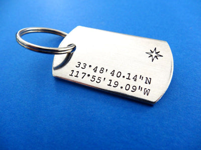 Coordinates Dog Tag Keychain | Custom Stamped Keychains