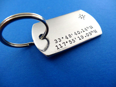 Coordinates Dog Tag Keychain | Custom Stamped Keychains, alternate angle