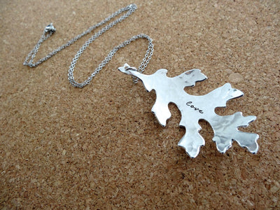 Love Necklace | Stamped Leaf Necklace